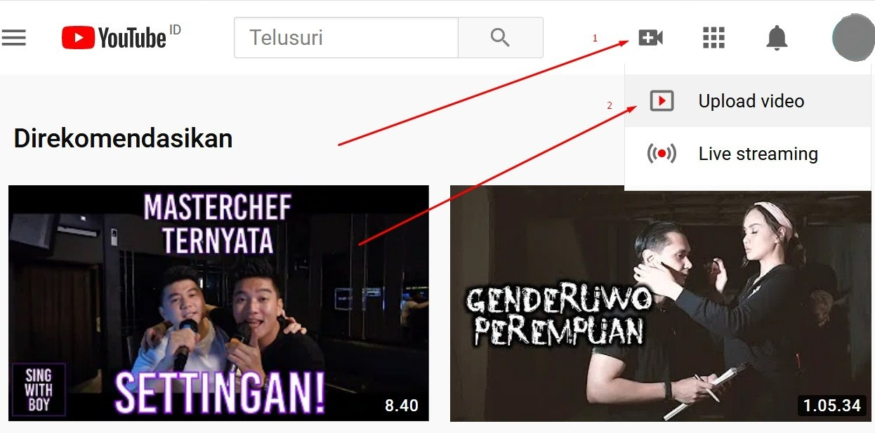 Gambar Cara upload masukin video ke youtube