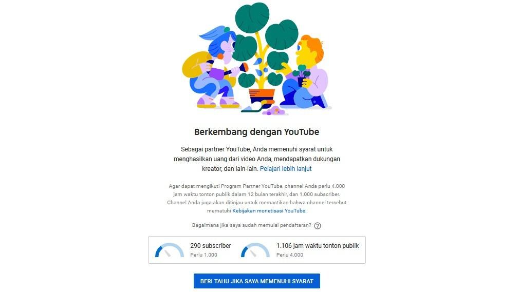Gambar Cara Daftar Adsense Youtube Halaman Monetisasi