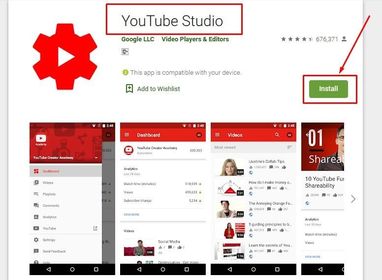 Gambar cara masuk ke creator youtube studio pakai android melalui aplikasi