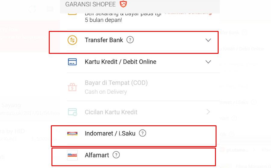 Cara Bayar di Shopee, Indomaret, Alfamart, Transfer ATM
