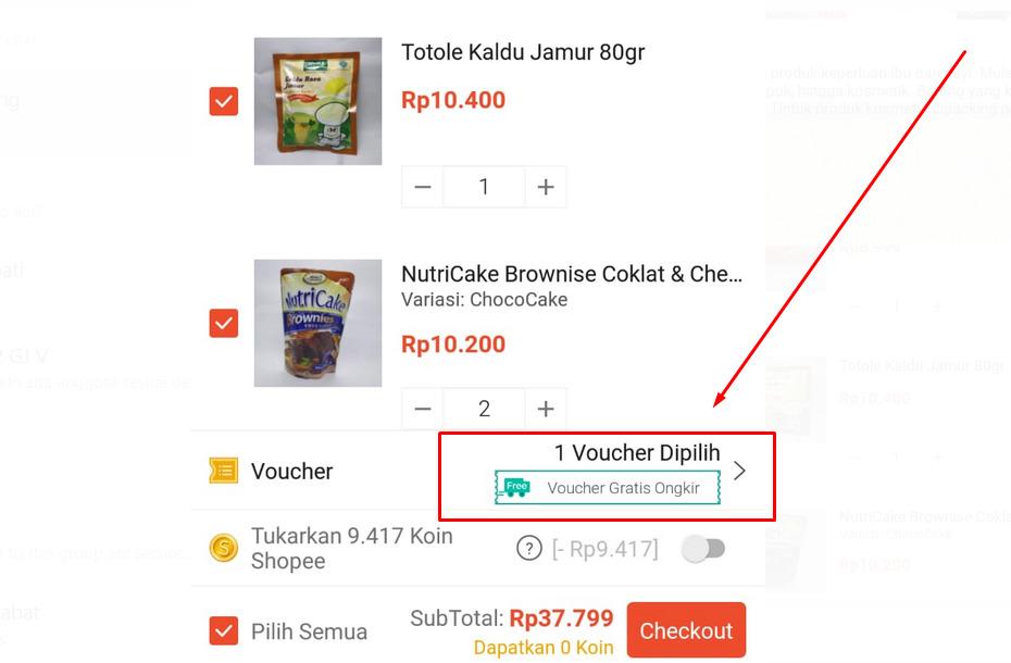 Gambar cara mendapatkan gratis ongkir di Shopee