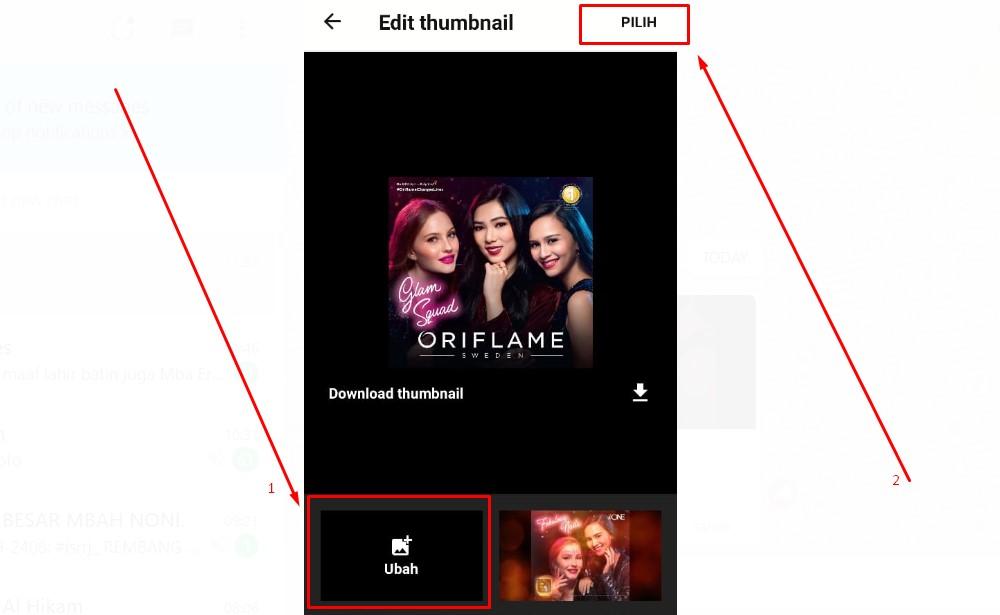 Mengganti ke thumbnail yang sudah dibuat sendiri