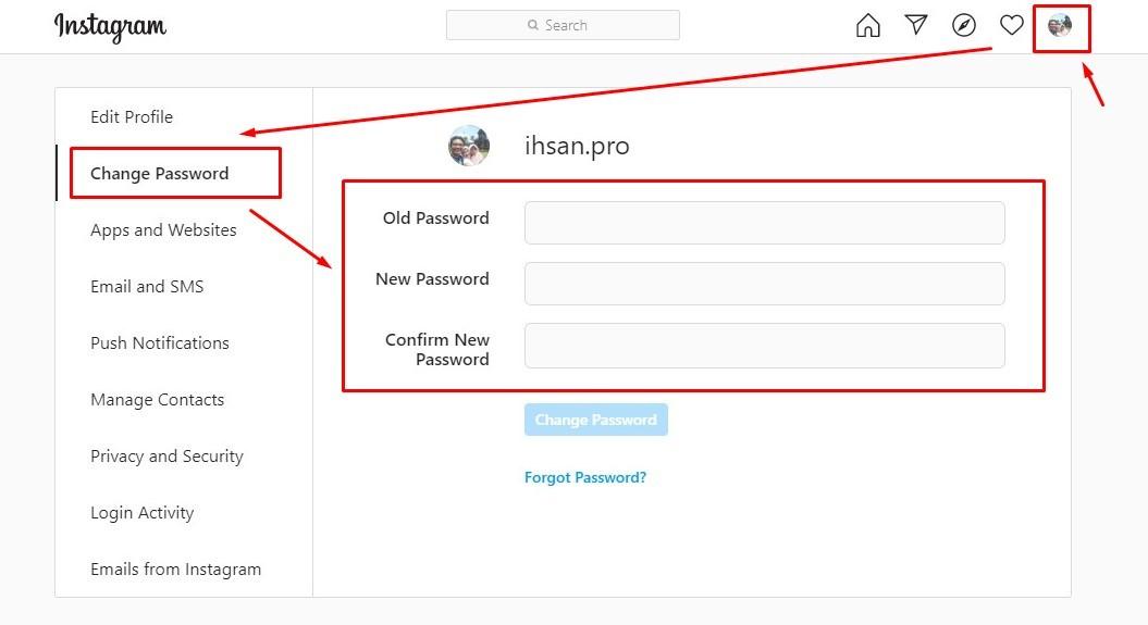 Cara ganti password instagram bila masih ingat kata sandi lama