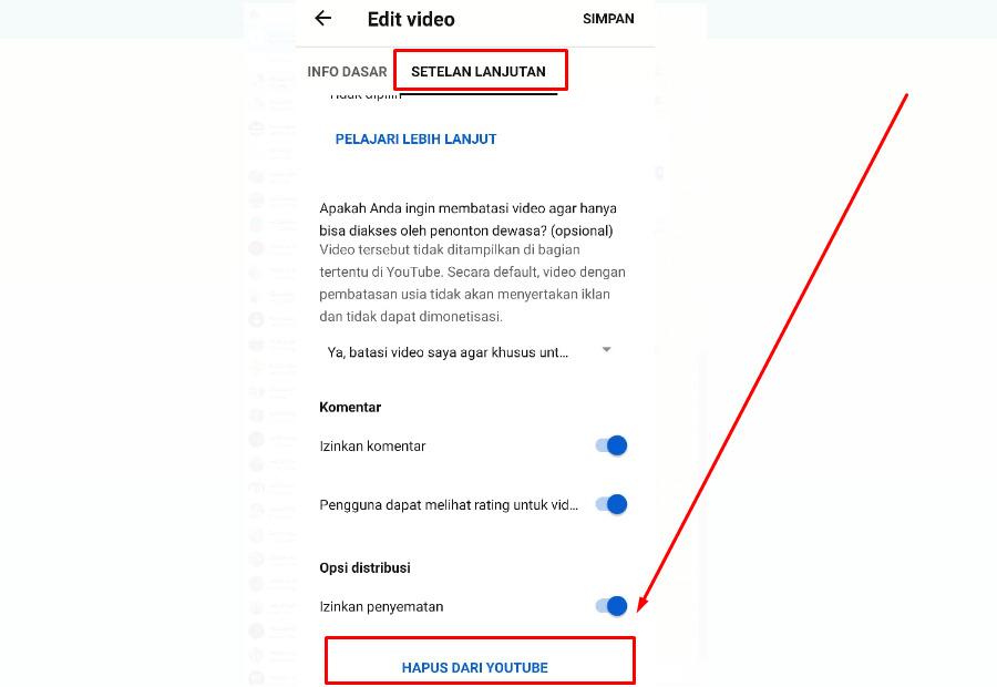 Cara hapus video di youtube lewat HP