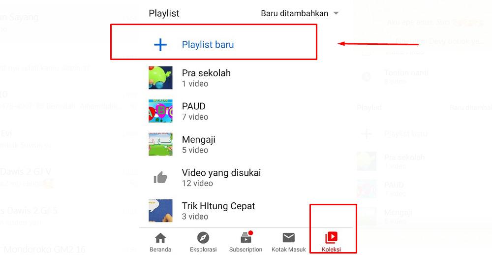 Cara membuat playlist di youtube android