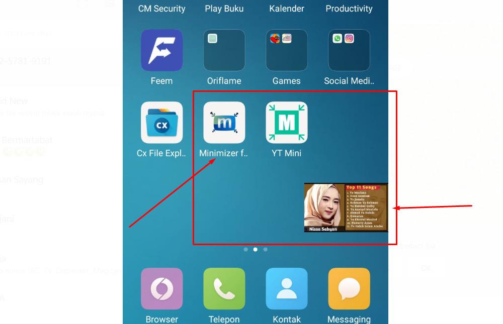 Gambar 1 - Cara minimize youtube di HP menggunakan aplikasi