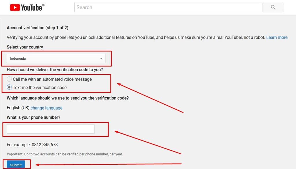 Gambar 1 - Cara verifikasi akun youtube via HP dan laptop dari link