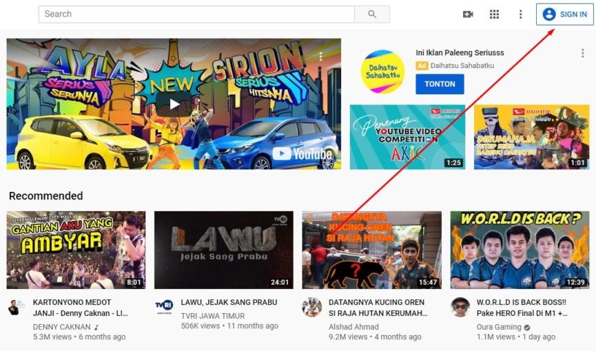 Gambar 2 Cara membuat akun youtube di laptop