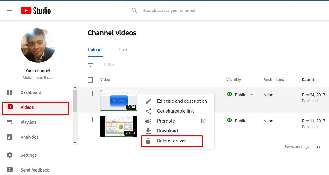 Cara menghapus konten youtube melalui PC