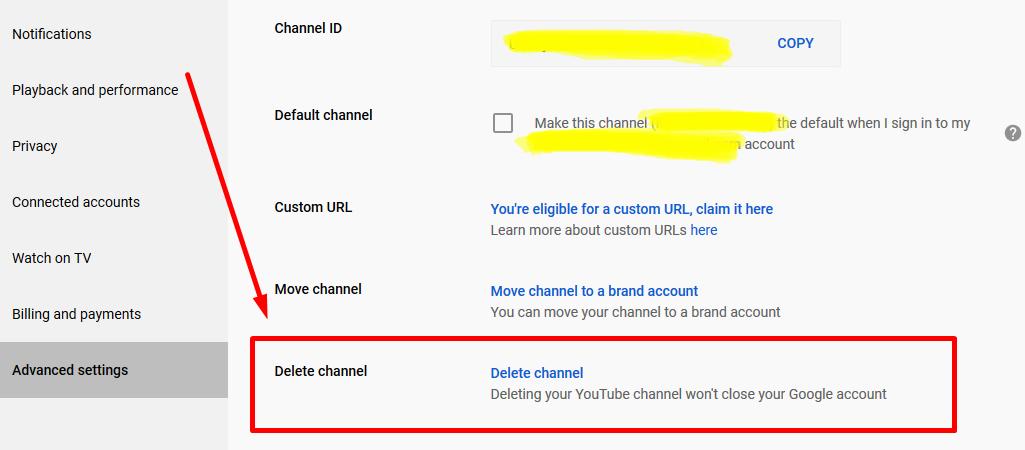 Cara hapus channel youtube melalui laptop atau PC