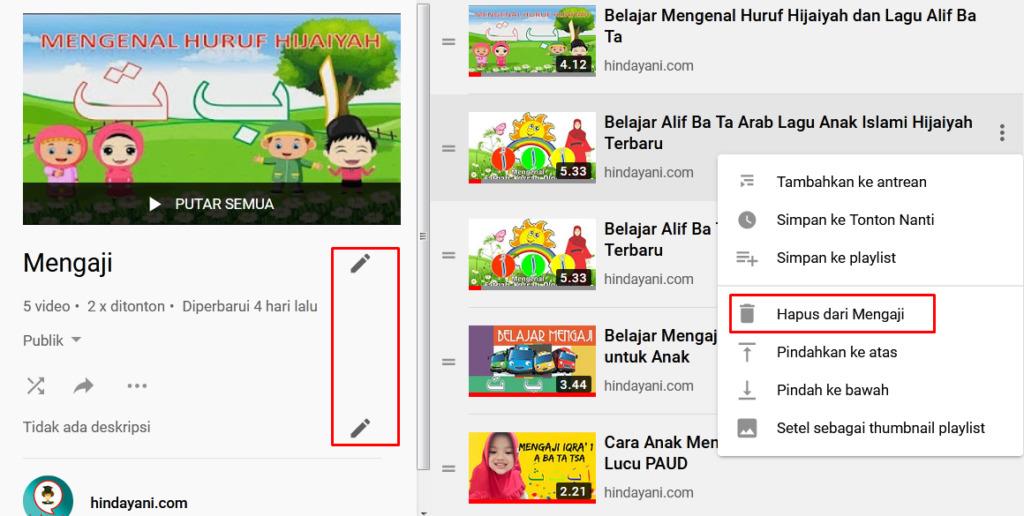 Gambar 3 - Cara menghapus dan mengedit daftar putar di youtube