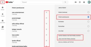 Cara menghapus riwayat pencarian di youtube di komputer, laptop, PC