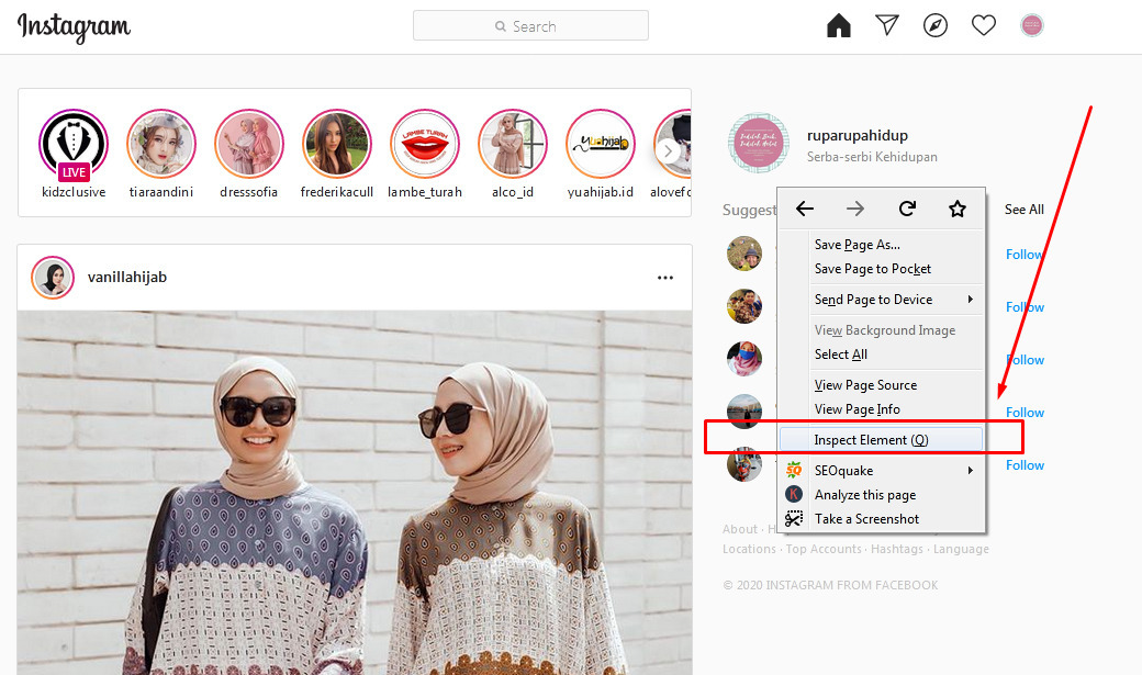 Gambar 1 - Cara upload foto di instagram web via Mozilla Firefox