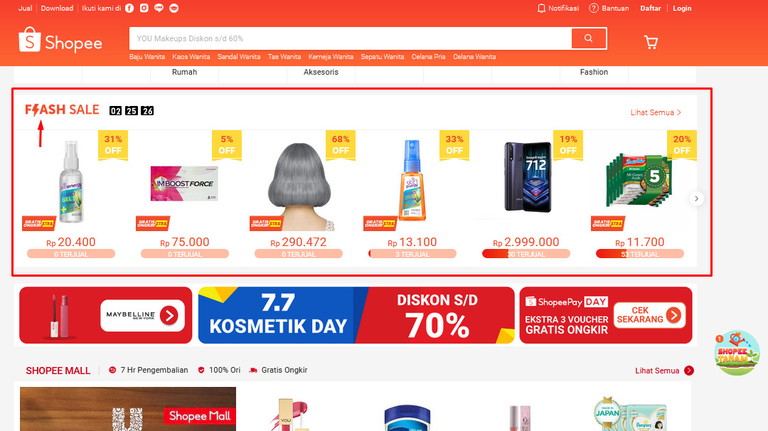 Keuntungan ikut flash sale di Shopee