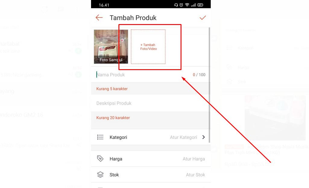 Cara upload produk di Shopee lewat HP (foto dan video sudah siap di galeri)