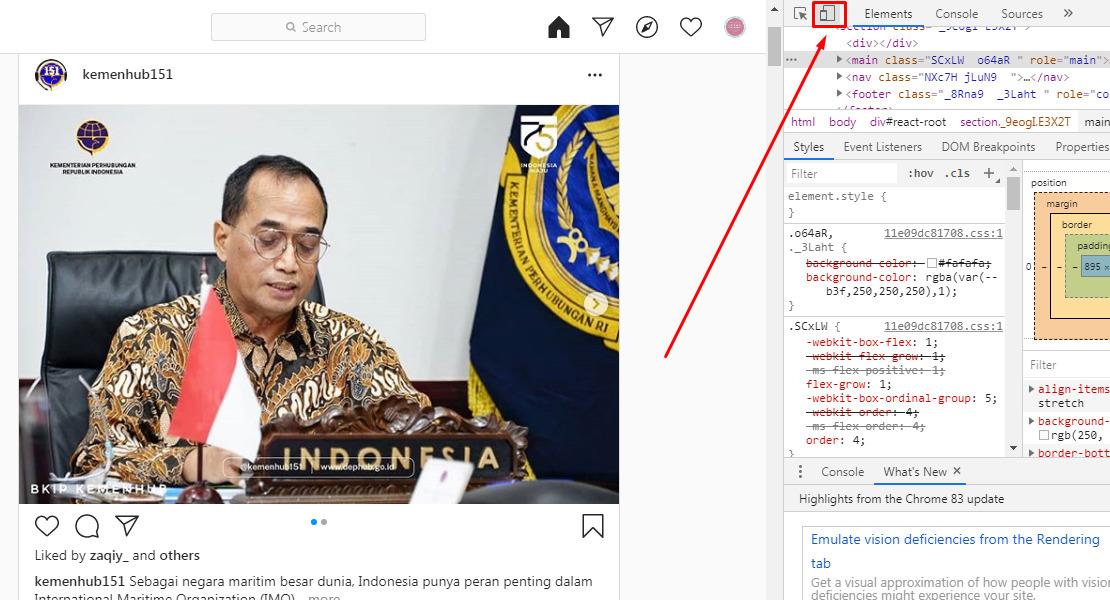 Cara upload foto di IG web via Google Chrome