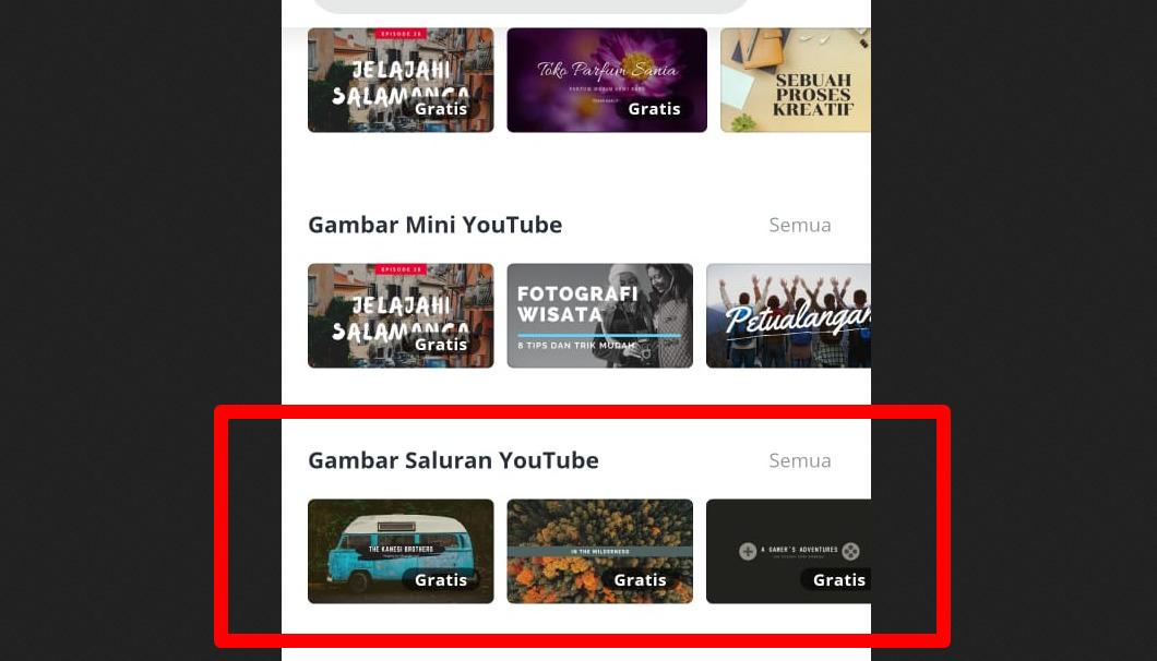 Cara membuat banner youtube di android dan iphone pakai aplikasi - Canva