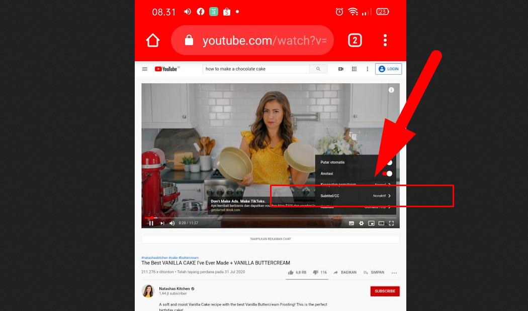 Cara menambahkan subtitle Indonesia di Youtube lewat browser di HP