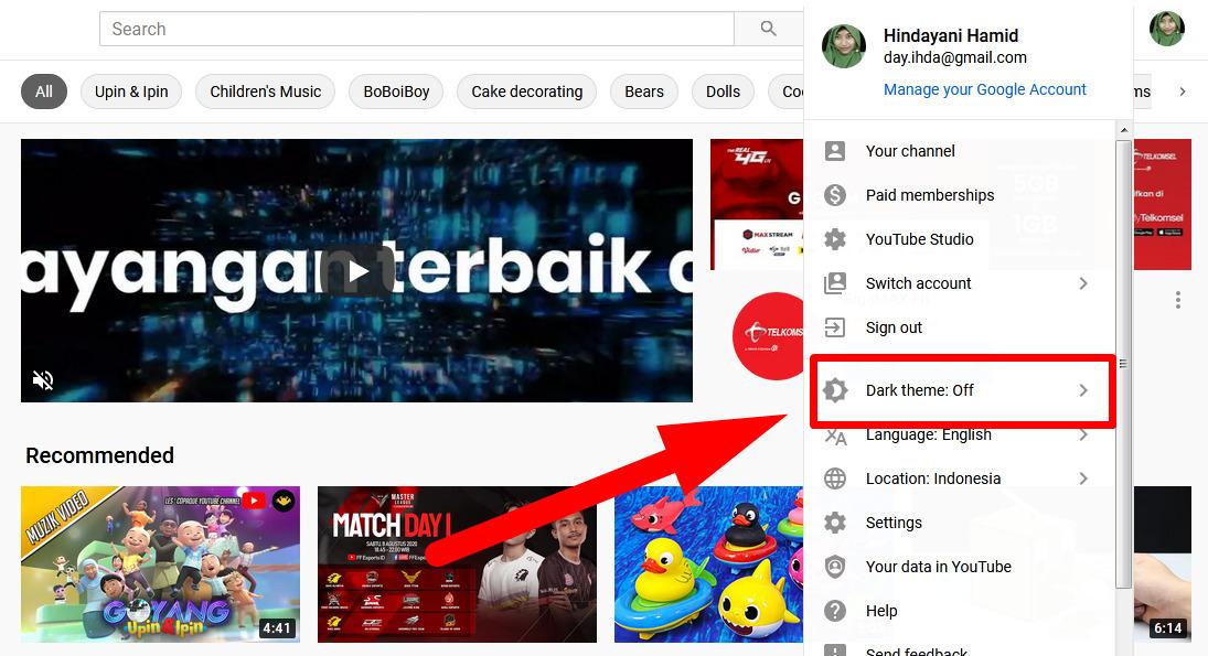 Cara mengganti tema Youtube di laptop