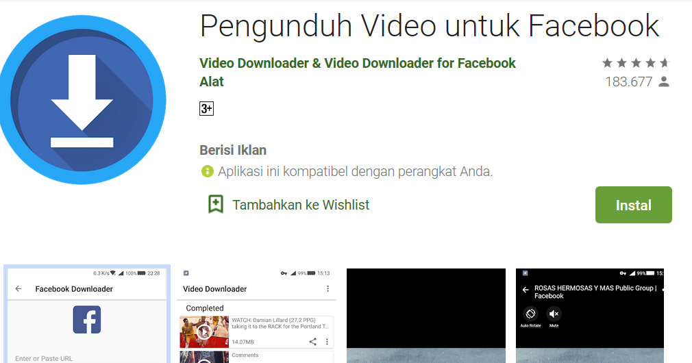 Gambar 1 - Cara download video di facebook di android pakai aplikasi - Video Downloader for facebook