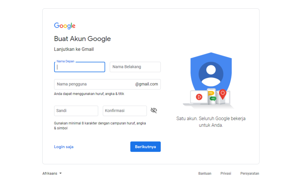 Gambar 2 - Cara buat akun Gmail via PC atau laptop