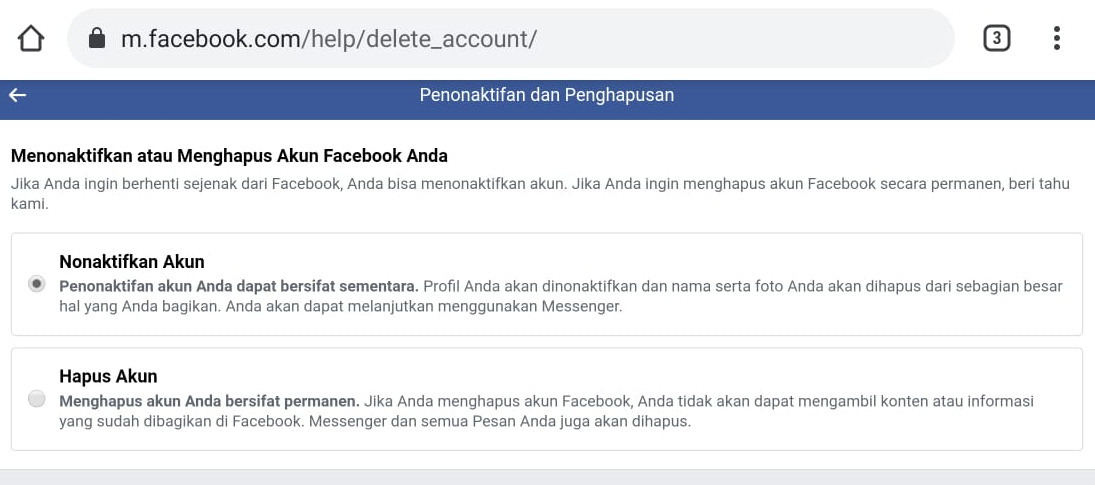 Cara menghapus akun FB dengan cepat via browser di PC dan HP