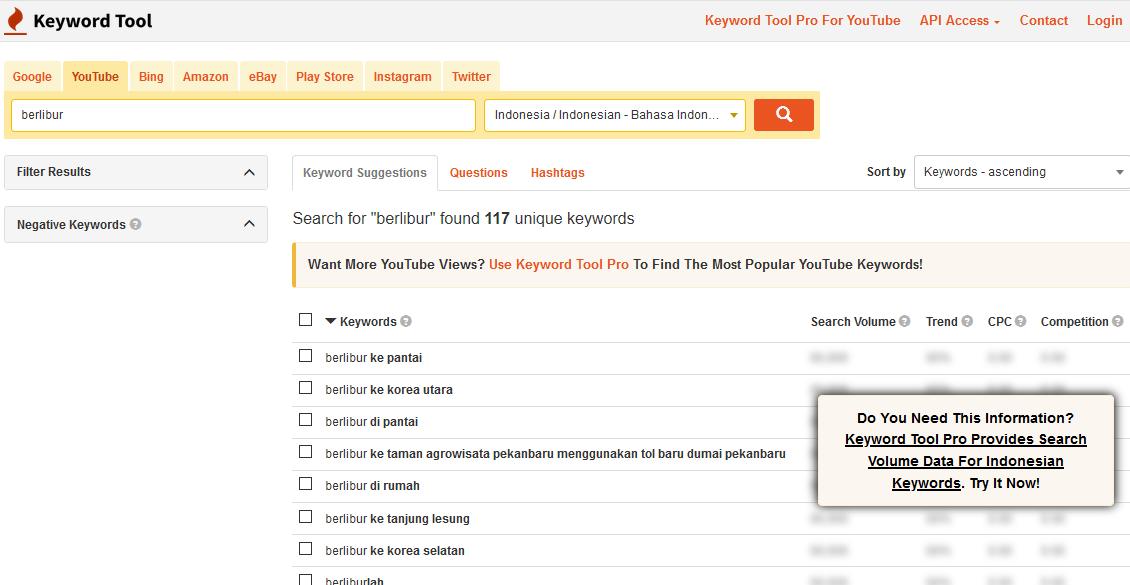 keyword tool youtube terbaik yang gratis dan berbayar - Keywordtool.io