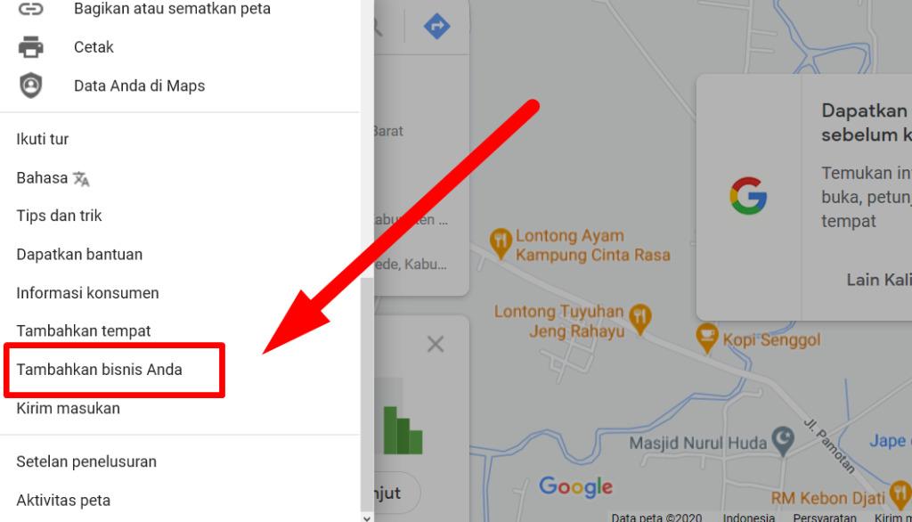 Gambar 3 - Cara menambahkan lokasi di google map komputer, laptop, atau desktop