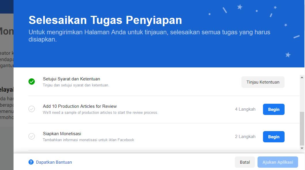 Cara monetisasi facebook agar mendapatkan penghasilan - Siapkan atau Daftarkan untuk Ditinjau