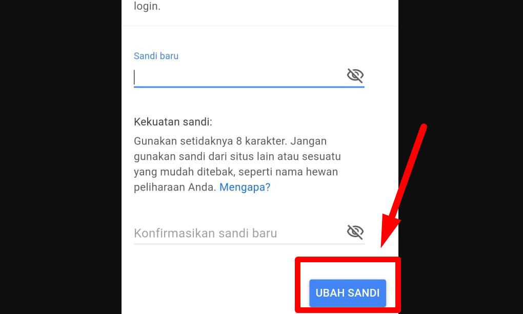 Gambar 1 - Cara mengganti password gmail di HP android