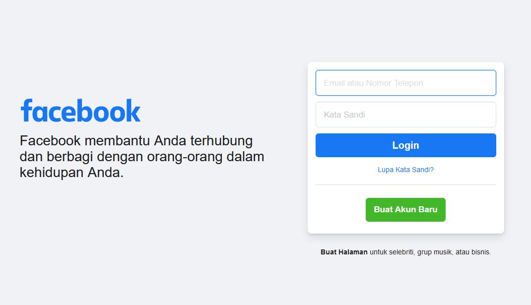 Gambar 1 - Cara membuat akun facebook dari laptop (browser)