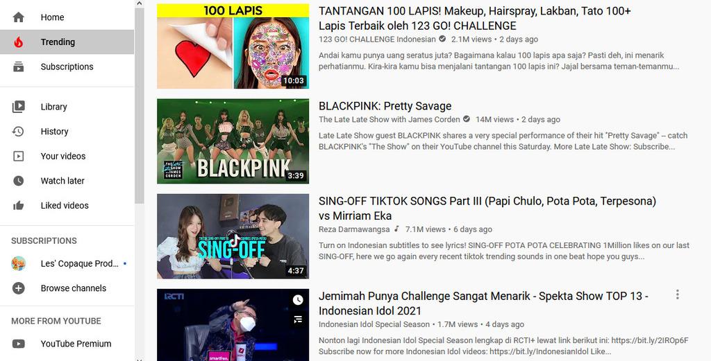Gambar 1 - Daftar ide jenis konten Youtube paling dicari di Indonesia