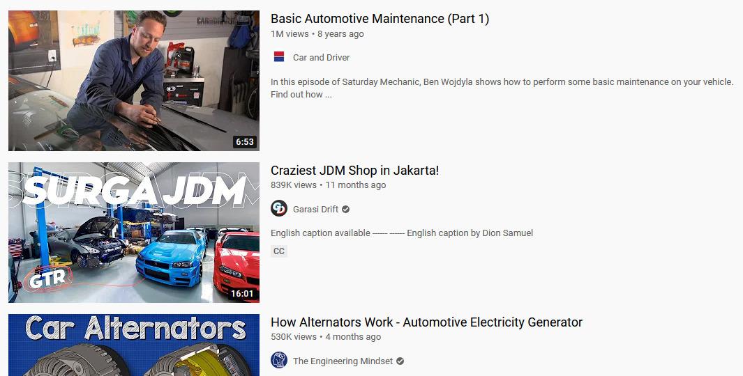 Ide video untuk konten Youtube - kendaraan dan otomotif