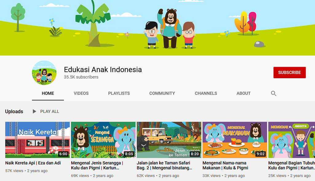 Gambar 1 - Channel youtube edukasi anak Indonesia - Edukasi anak Indonesia
