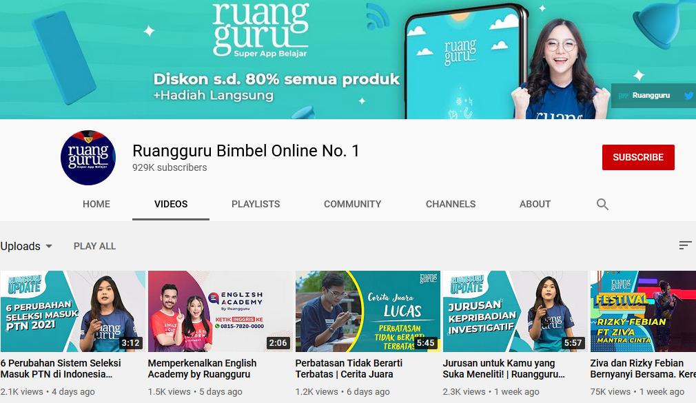 Youtuber dengan konten edukasi di Indonesia fokus pendidikan SD sampai perguruan tinggi - Ruangguru Bimbel No.1