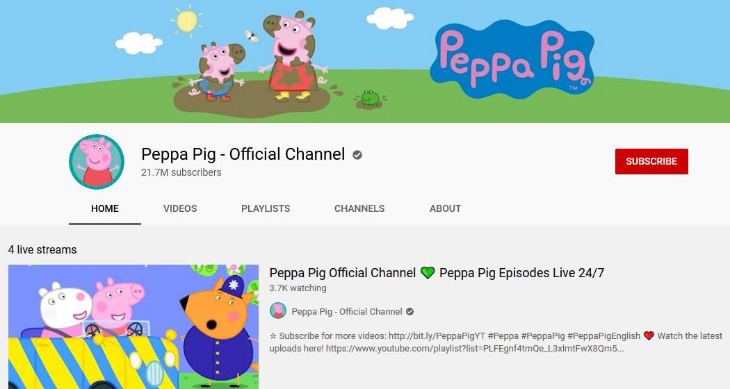 Channel youtube edukasi bahasa inggris - Peppa Pig