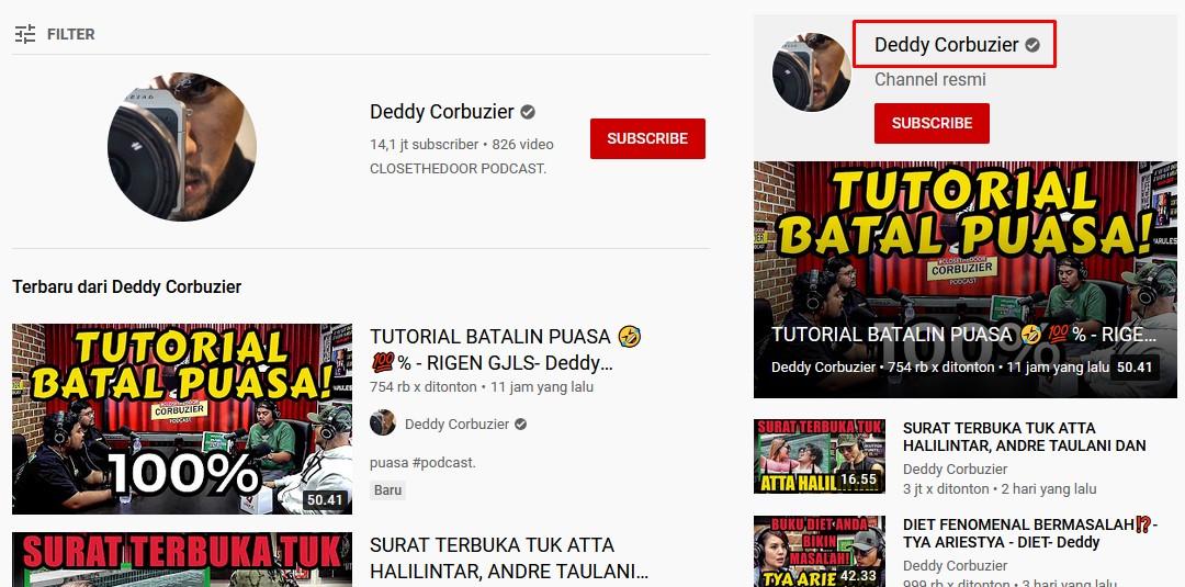 Cara memilih nama channel Youtube keren - memakai nama sendiri