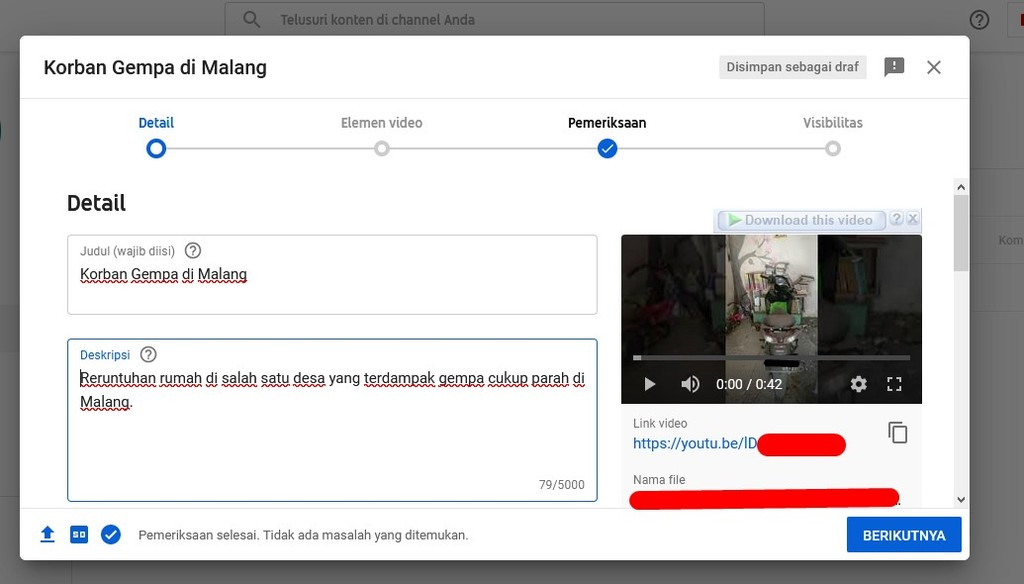 Gambar 1 - Cara upload video di Youtube lewat PC atau laptop