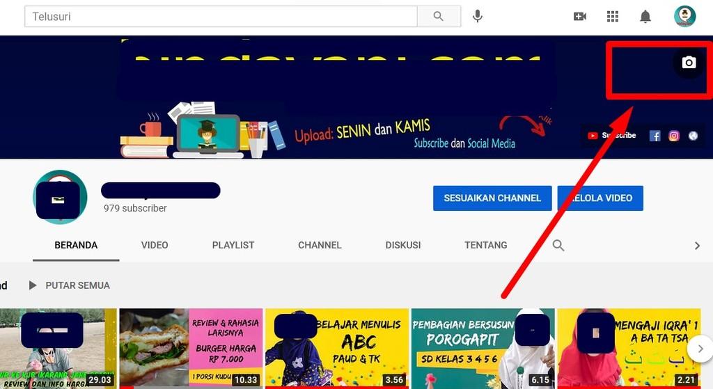 Cara mengubah banner youtube keren dari laptop