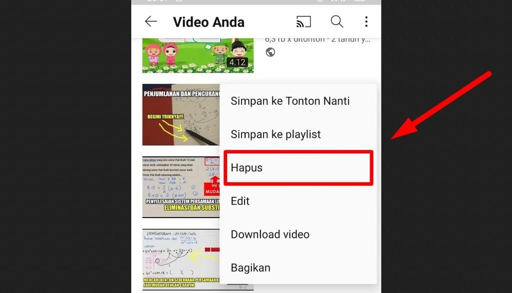 Gambar 1 - Cara menghapus video di Youtube lewat HP (konten milik sendiri)