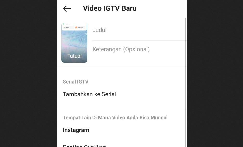 Gambar 1 - Cara upload IGTV dari HP