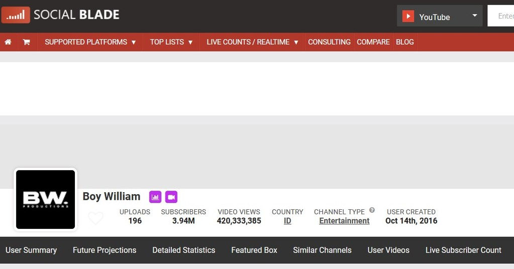 Fungsi atau kegunaan socialblade - Mengecek estimasi pendapatan channel YouTube dan perkembangannya